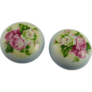 Pair of Antique Porcelain Door Knobs with Roses