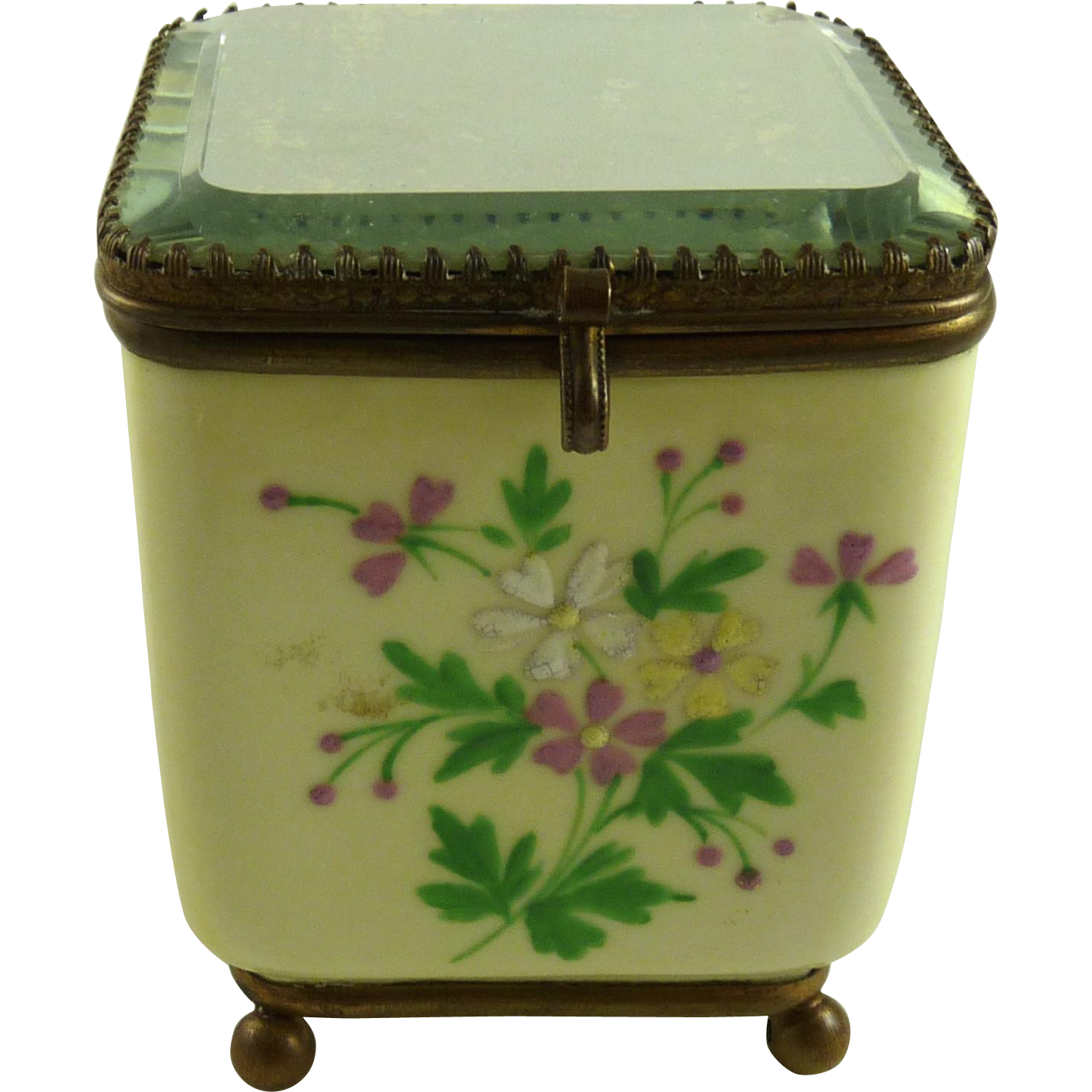 Antique Porcelain Perfume Casket Mirrored Top