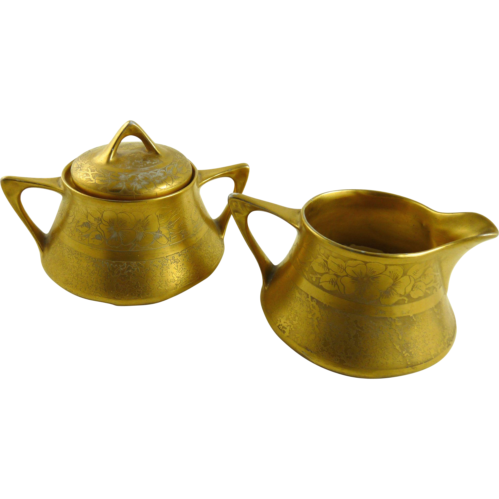 Vintage Gold Gilt Porcelain Creamer Sugar Zeh Scherzer