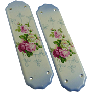 Pair of Antique Porcelain Push Plates with Roses