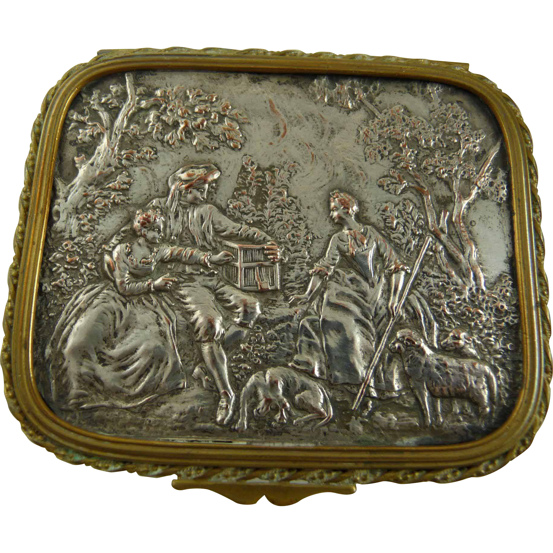 Vintage Brass Vanity Box with Pastoral Scene