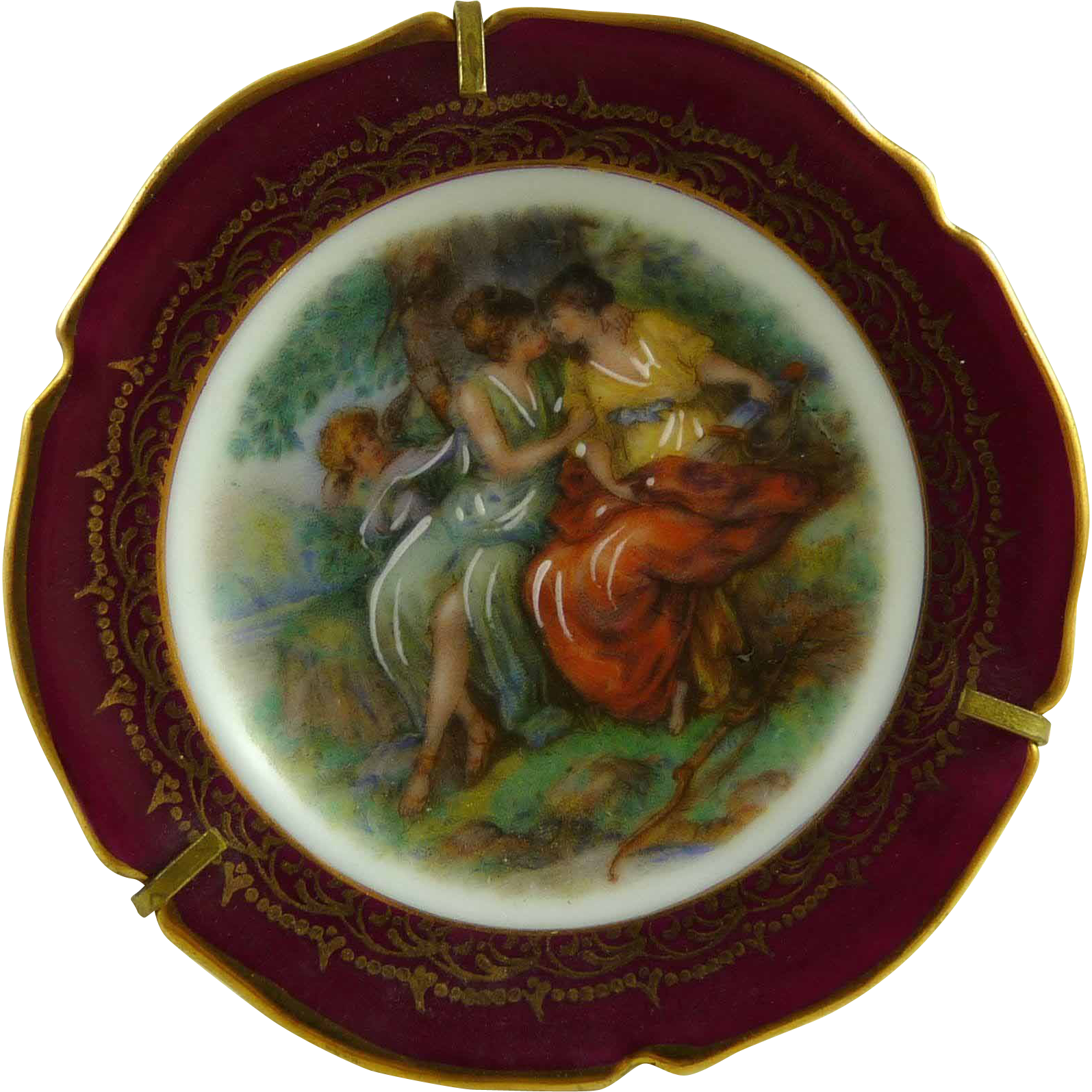 Vintage Miniature Limoges Plate in Stand