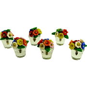Vintage Czech Glass Flower Pot Place Card Holders Set of Six