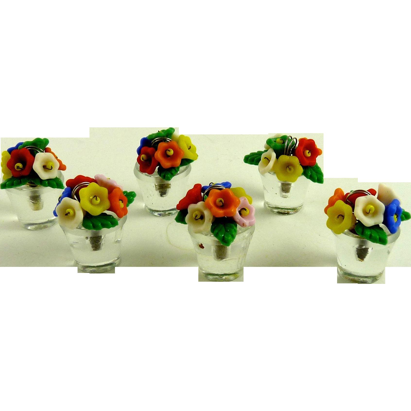 Vintage Czech Glass Flower Pot Place Card Holders Set of Six
