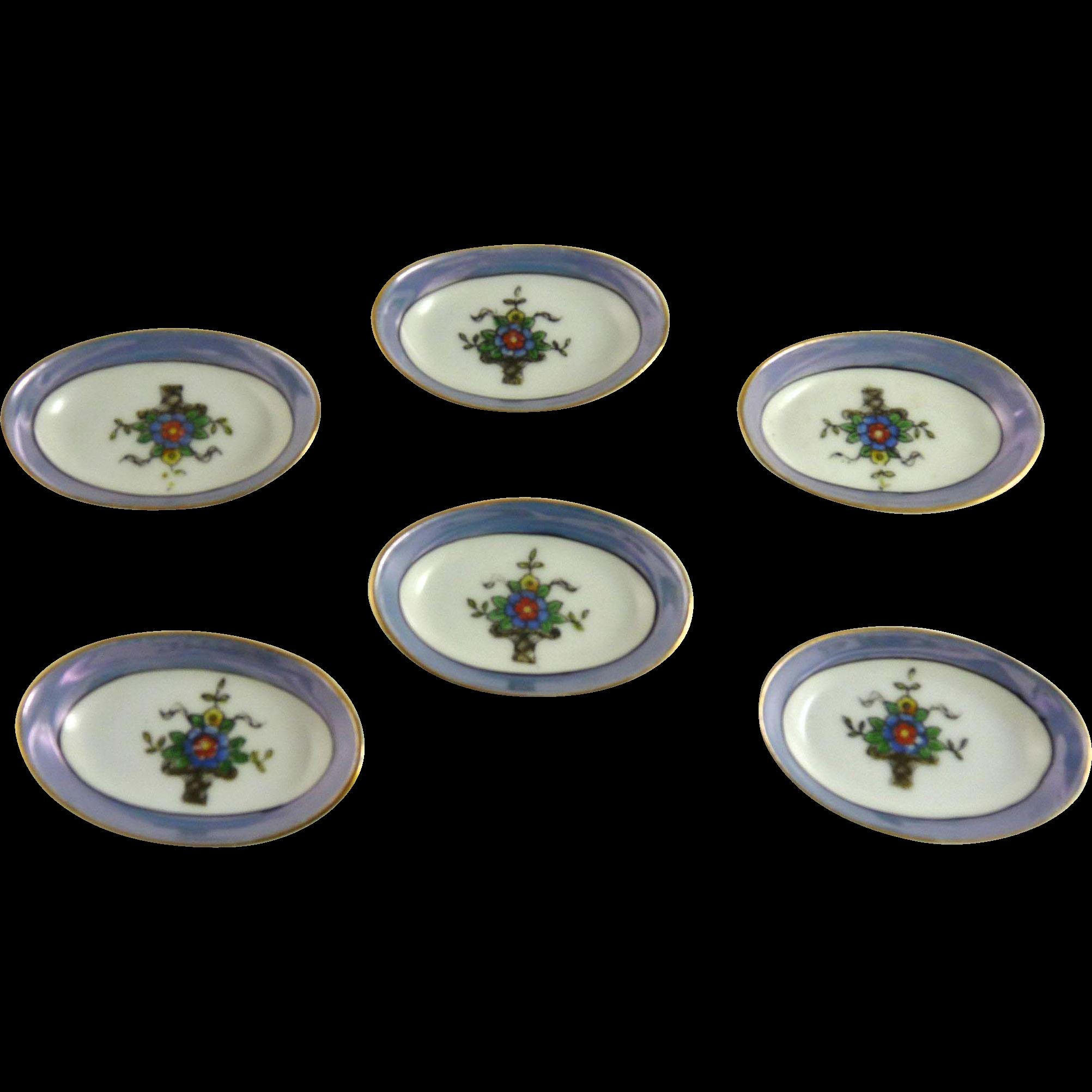 Set of Six Vintage Japanese Lusterware Salts