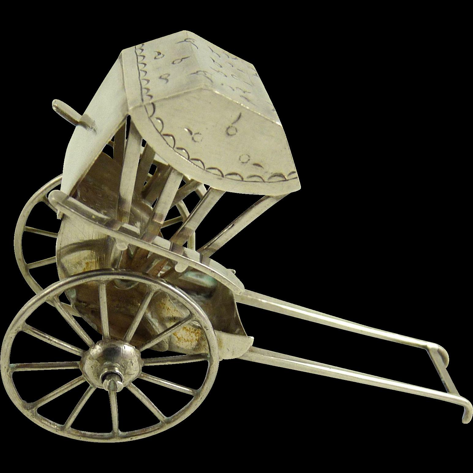 Antique Chinese Export Silver Miniature Rickshaw Wang Hing