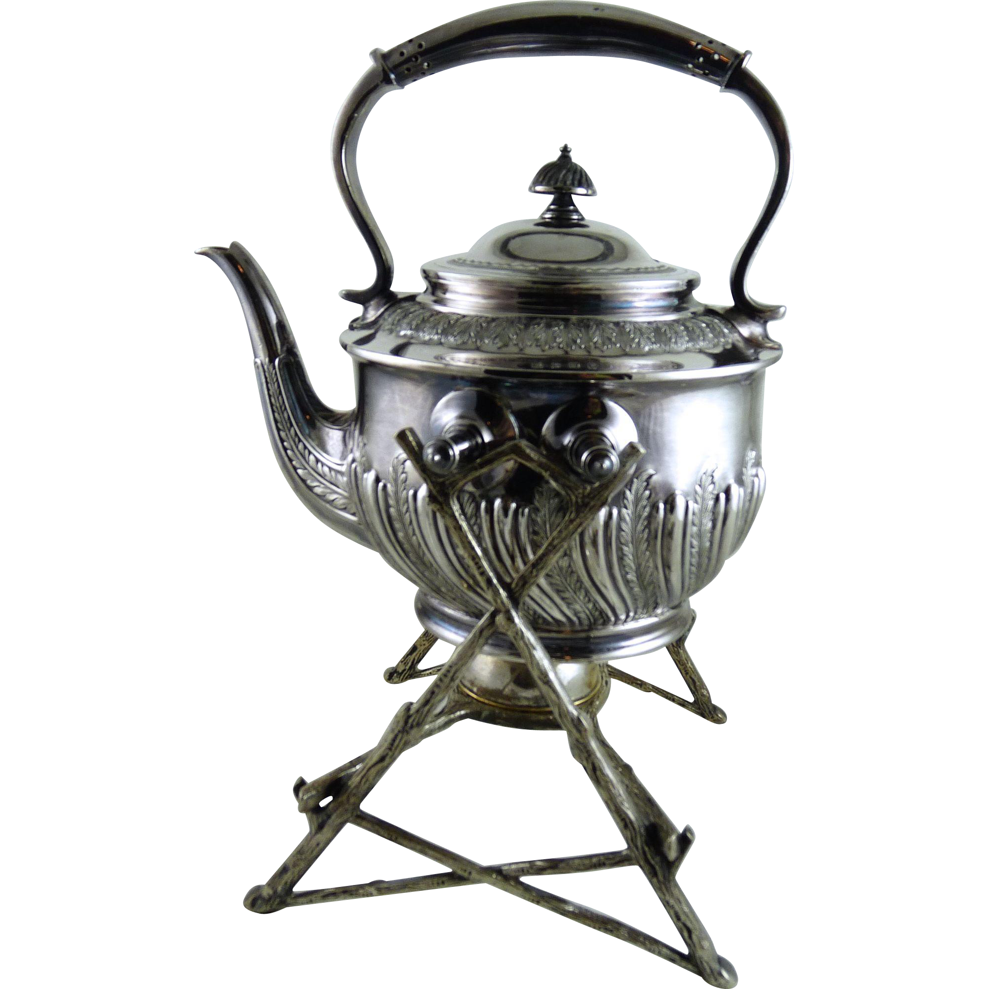 Antique Silver Plate Tea Pot on Tilt Stand Walker and Hall