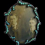 Antique Art Nouveau Frame with Turquoise Stones