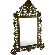 Antique Victorian Vanity Mirror Gilt Metal