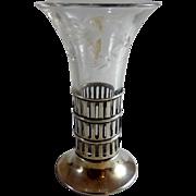 Vintage Sterling Silver and Cut Glass Bud Vase Webster