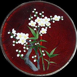 Vintage Japanese Ginbara Cloisonne Cabinet Plate Pigeon Blood Red