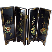 Vintage Chinese Table Screen Miniature Hardstone Carving