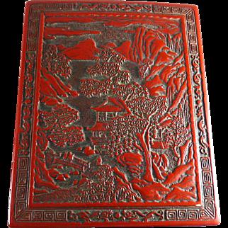 Vintage Chinese Faux Cinnabar Document Box