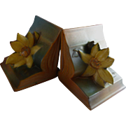 Vintage Roseville Clematis Bookends