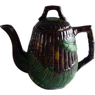 Vintage Majolica Teapot Bamboo and Palm Leaf