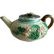 Vintage Majolica Teapot Basket Weave Flowers