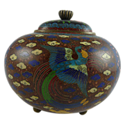 Antique Japanese Meiji Cloisonne Footed Jar with Bird of Paradise