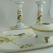 Nippon Porcelain Vanity or Dresser Set Birds and Cherry Blossoms - Red Tag Sale Item