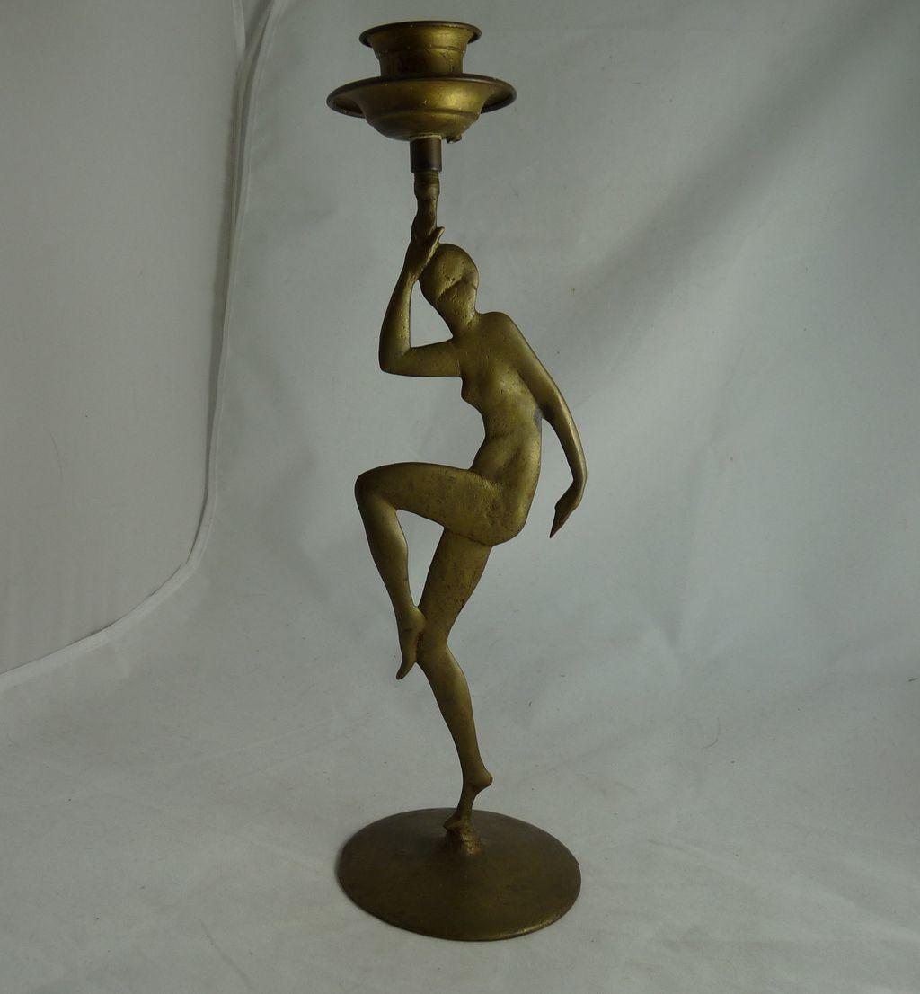 Art Deco Figural Brass Candlestick Nude Dancer