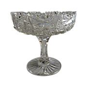 American Brilliant Period Cut Glass Comport Small Size