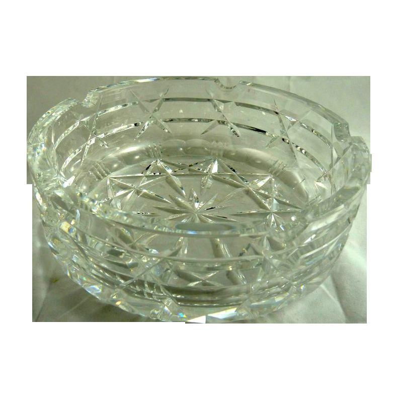 Large Vintage Mid Century Cut Glass Ashtray