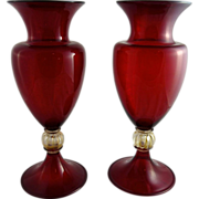 Vintage Pair of Art Deco Murano Ruby Glass Vases