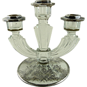 Vintage Fostoria Three Light Candlestick Silver Overlay Roden Bros