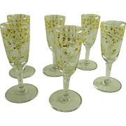 Set of 6 Vintage Enameled Cordials