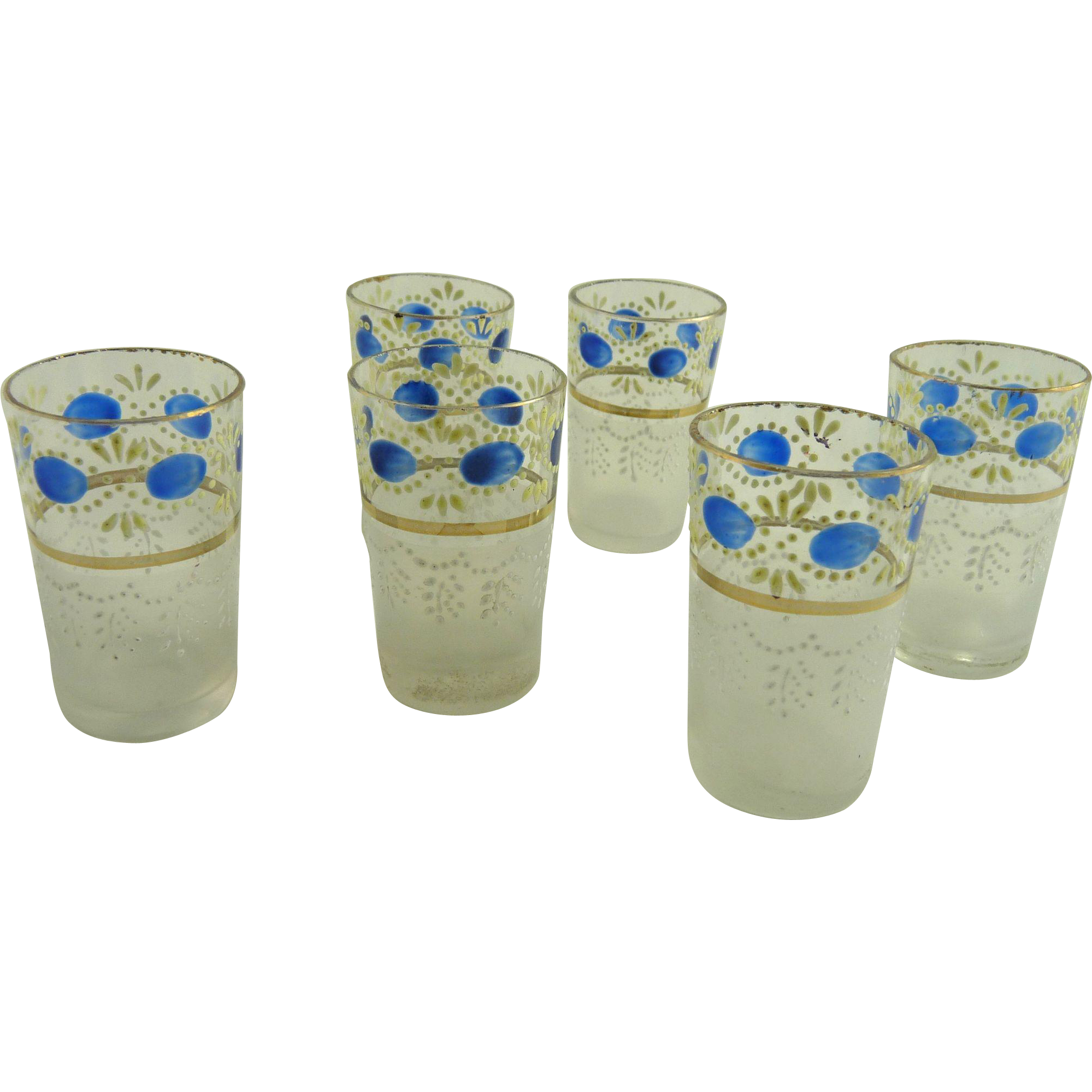 Set of Six Vintage Aperitif Cordial or Shot Glasses Enamel Decorated