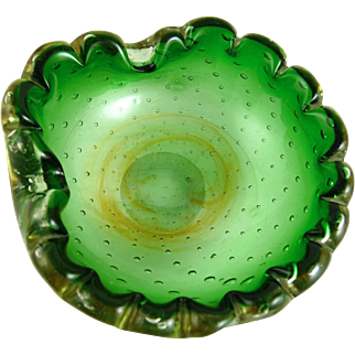 Vintage Murano Glass Ashtray Controlled Bubble