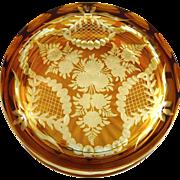 Vintage Czech Amber Cut to Clear Powder Box