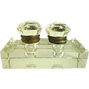Antique Double Inkwell Clear Faceted Glass