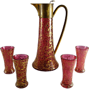 Antique Bohemian Cranberry Glass Claret Jug and Glasses