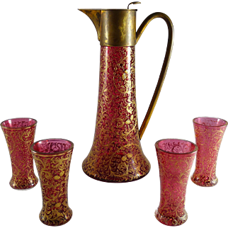 Antique Bohemian Cranberry Glass Claret Jug and Glasses