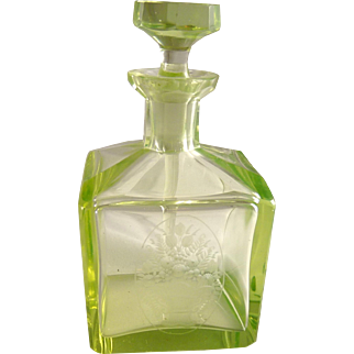 Vintage Art Deco Vaseline Glass Perfume Cologne Bottle
