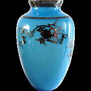Vintage Art Deco Consolidated Regent Silver Overlay Vase Aqua Blue
