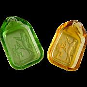 Pair of Vintage Intaglio Czech Glass Salts Ashtrays