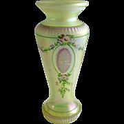 Fenton Vaseline Iridescent Hand Painted Numbered Vase