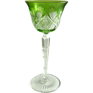 Vintage Bohemian Green Cut to Clear Wine Stem Hock Glass
