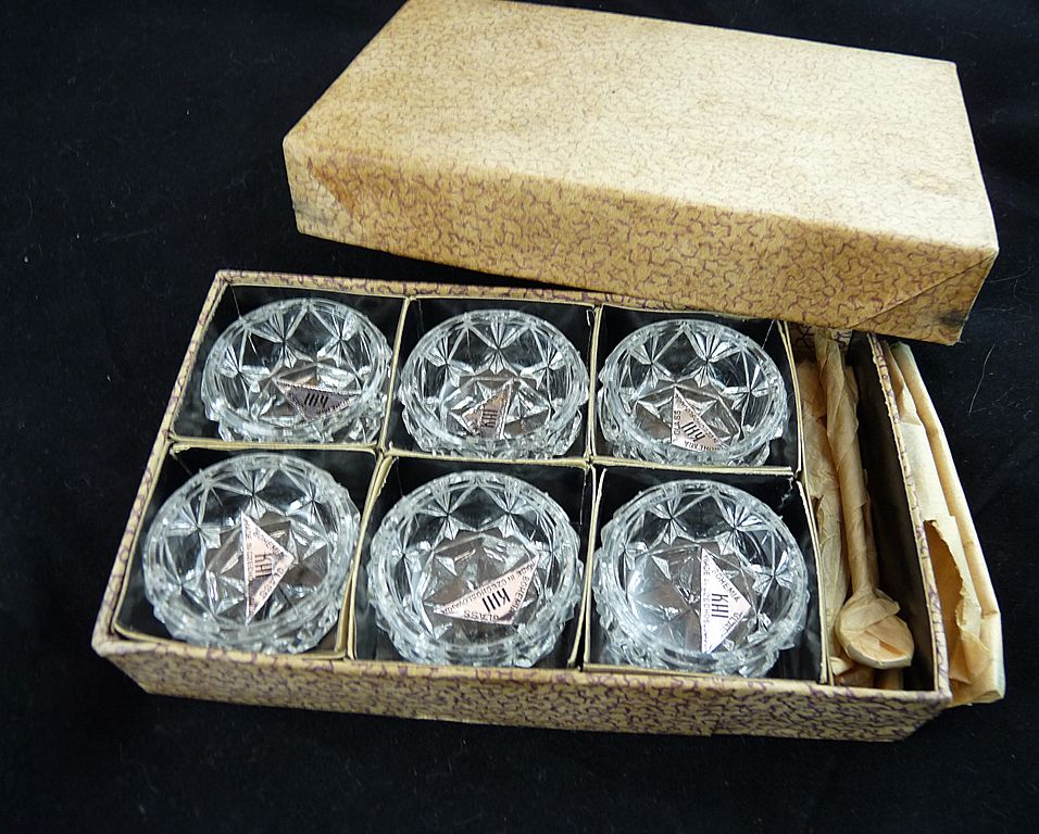 Vintage Czech Glass Open Salts in Original Box