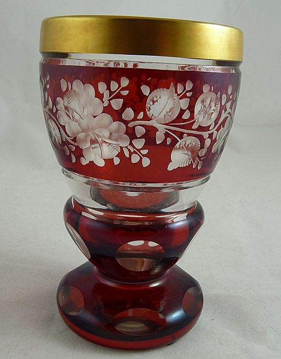 Beautiful Vintage Austrian Ruby Cut to Clear Goblet