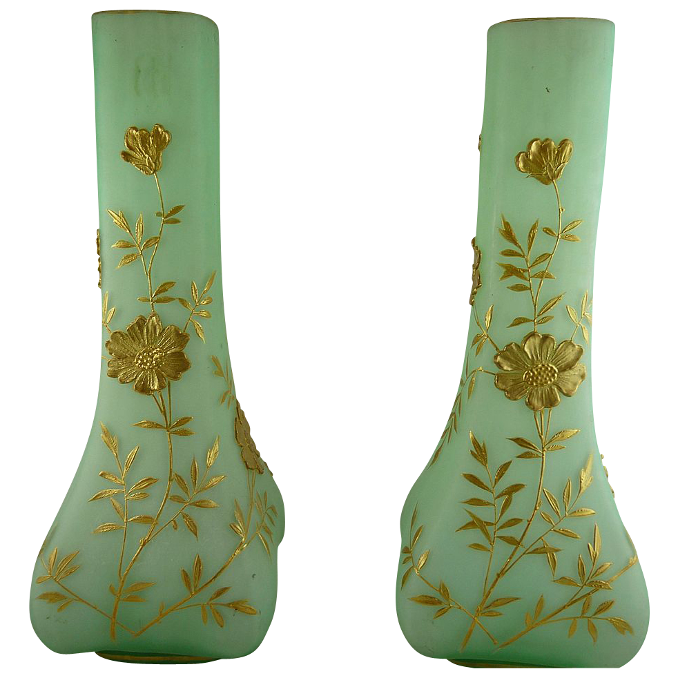 Pair of Antique Victorian Satin Glass Mantle Vases with Gold Decoration