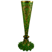 Antique Bohemian Czech Green Glass Bud Vase with Gold Enamel
