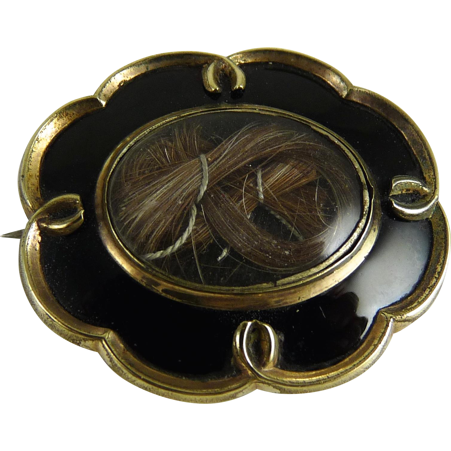 Antique Victorian Mourning Brooch Hair