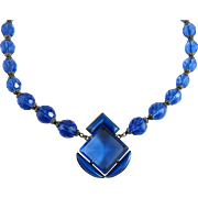 Vintage Art Deco Blue Czech Glass Necklace
