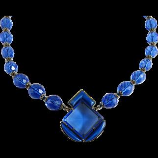 Vintage Art Deco Blue Czech Glass Necklace