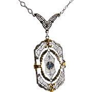 Vintage Art Deco Sterling Filigree Pendant Necklace