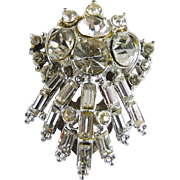 Vintage Art Deco Pot Metal and Rhinestone Dress Clip