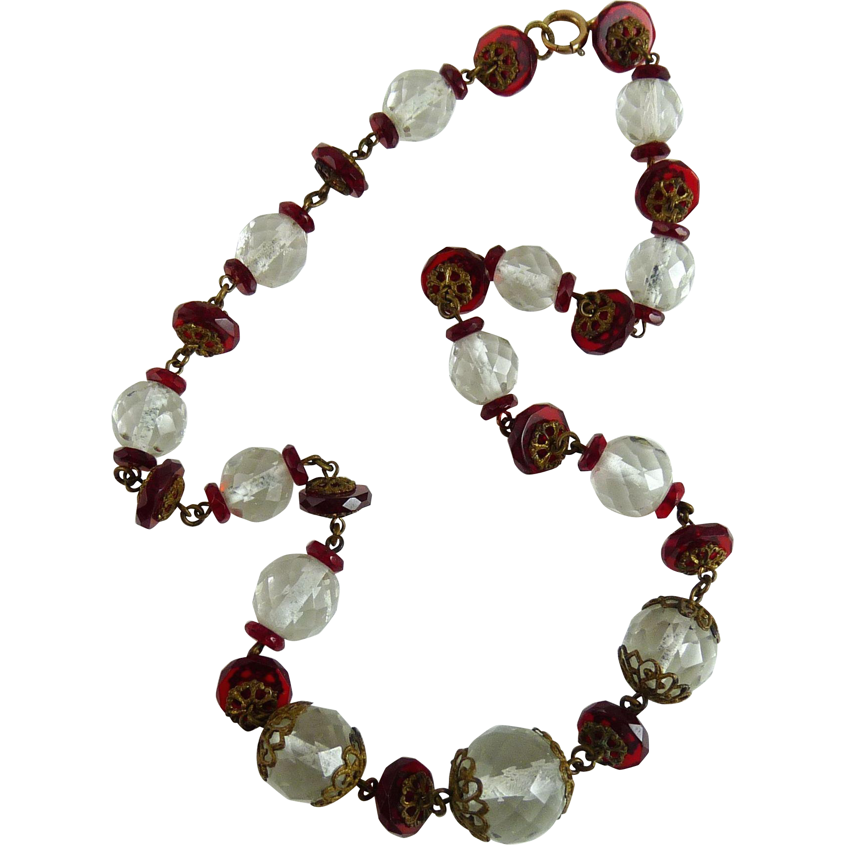 vintage art deco czech glass bead necklace from ornaments