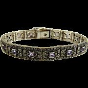 Vintage Sterling Silver Marcasite Amethyst Bracelet
